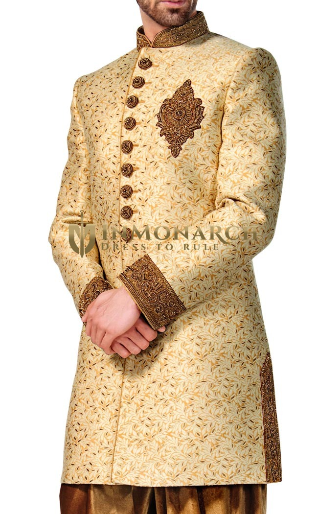 Mens Light Yellow 2 Pc Indowestern Ethnic