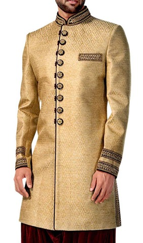 Mens Golden 2 Pc Indowestern Attire