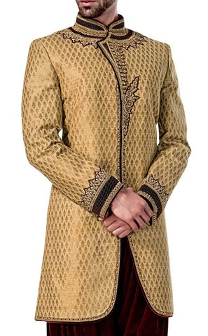 Mens Sherwani Golden Indowestern Latest Design Sherwani for Men Wedding