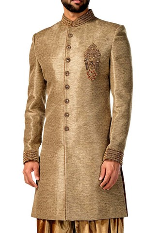 Mens Sherwani Kurta Tan Indowestern Suit Wedding Sherwani 8 Button