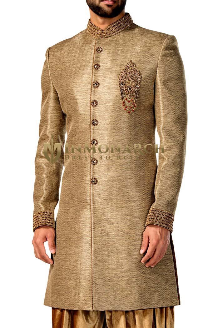 Mens Tan 2 Pc Indowestern Suit 8 Button