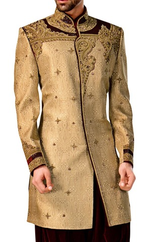 Sherwani for Men Bisque Indowestern Embroidered Wedding Sherwani