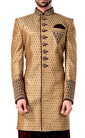 Mens Peach Indowestern Sherwani Outfit Sherwani Kurta