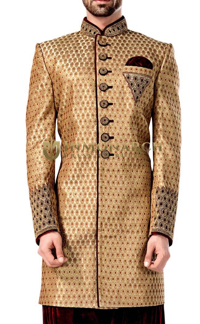 Mens Peach 3 Pc Indowestern Outfit