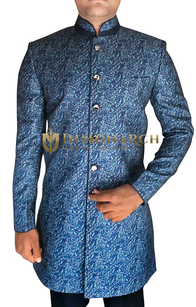 Mens Steel Blue 2 Pc Indowestern Stylish