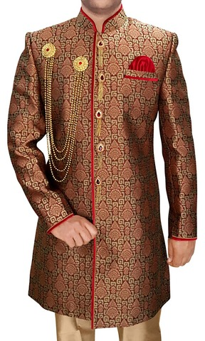 Indian Wedding Clothes for Men Brown Indowestern Designer Sherwani
