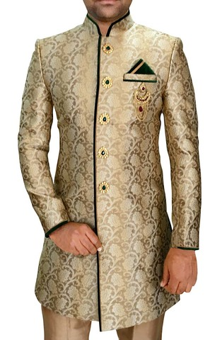 Mens Beige 4 Pc Indowestern Green Trimming