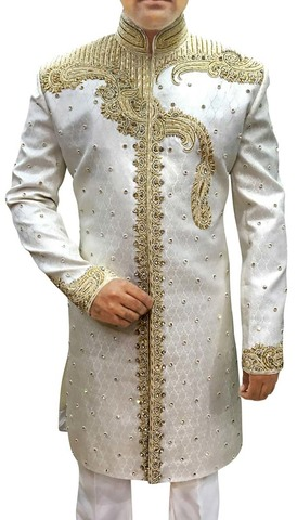 Mens White 2 Pc Indowestern Party Wear