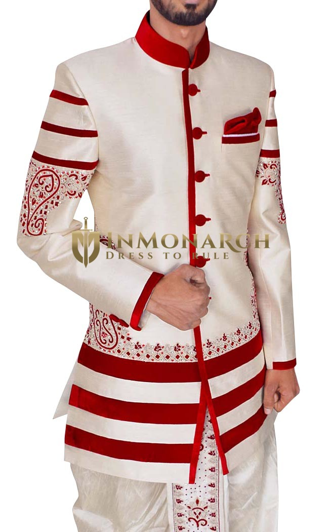 Mens Cream 3 Pc Indowestern Reception