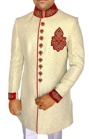 Mens Ivory 3 Pc Indowestern Royal Look