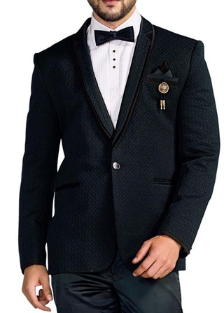 Mens Dark Navy Blue 6 Pc Tuxedo Self Design