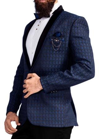 Mens Navy Blue 6 Pc Tuxedo Classic Threaded