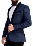 Mens Navy Blue 6 Pc Tuxedo Classic Threaded