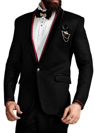 Mens Black 6 Pc Tuxedo With Red Trim Collar