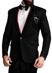 Mens Black 6 Pc Tuxedo With Red Trim Collar
