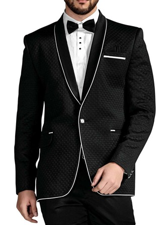Mens Black 5 Pc Tuxedo Piping Trim Shawl Collar