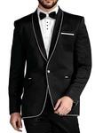 Mens Black 5 Pc Tuxedo Piping Trim Shawl Collar