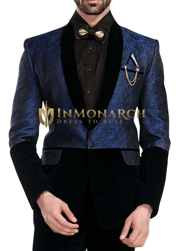 Mens Black and Blue Tuxedo Designer 6 Pc Suit