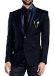 Mens Navy Blue Wedding Tuxedo 2 Button 6 Pc