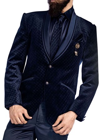 Mens Navy Blue Groom 6 Pc Tuxedo 2 Button