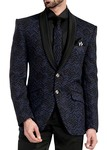 Mens Blue and Black Stripe Wave Tuxedo Suit 6 Pc
