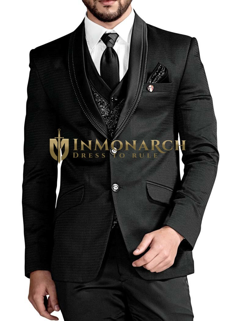 Mens Black 7 Pc Tuxedo Suit Two Button