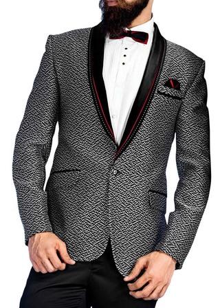 Mens White and Black 5 Pc Tuxedo One Button
