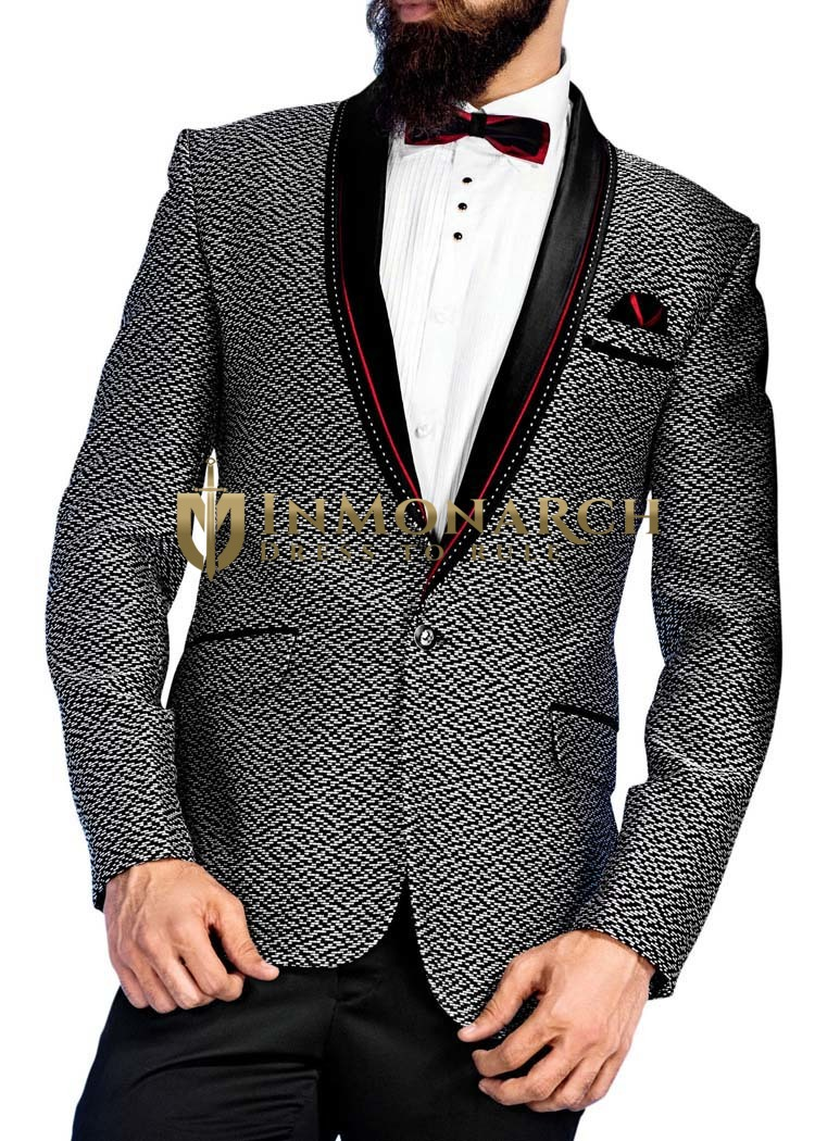 Mens White and Black 5 Pc Tuxedo One Button