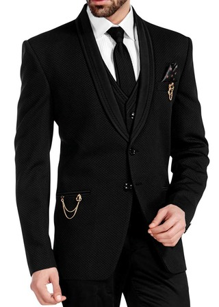 Mens Black Tuxedo Suit 7 Pc Two Button