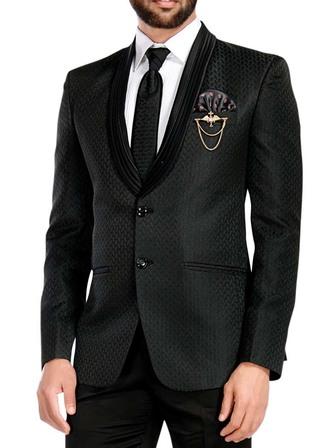 Mens Black 6 Pc Tuxedo Designer Shawl Collar