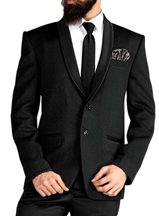 Mens Black 5 Pc Tuxedo Self Woven Suits