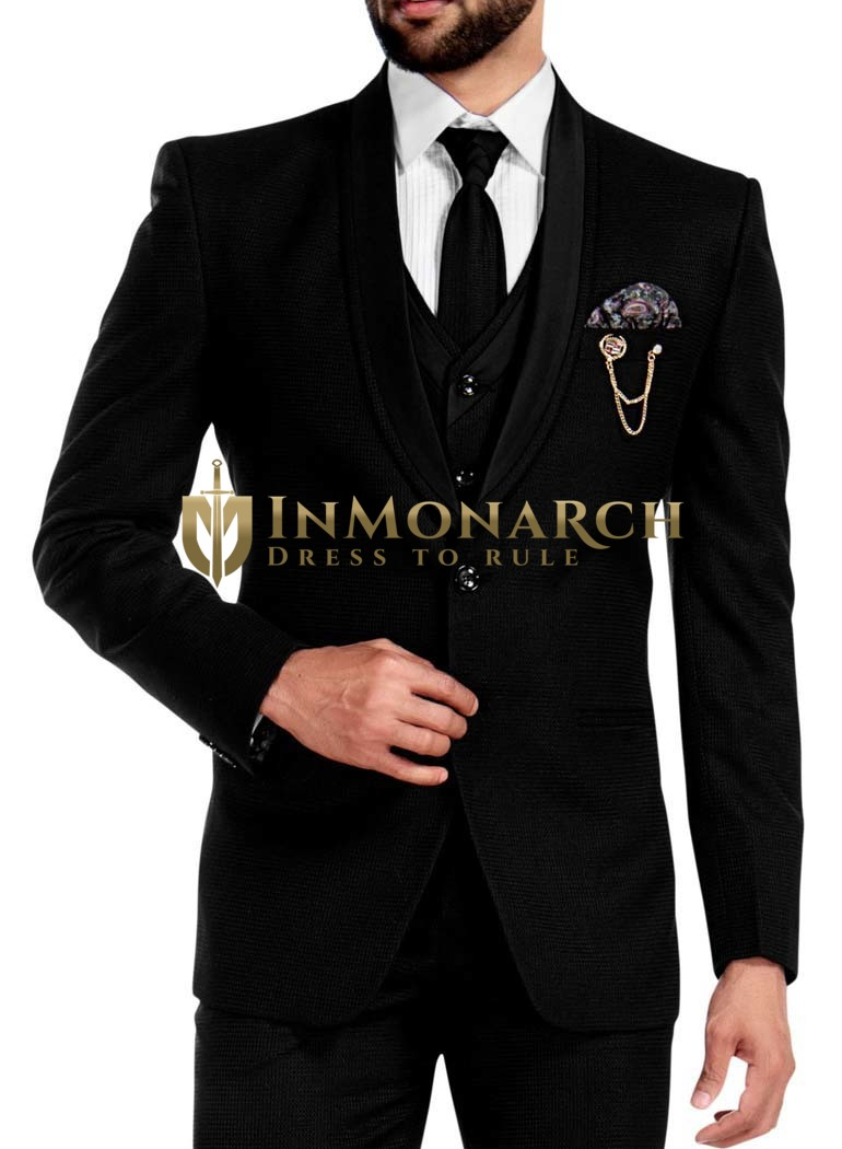 Mens Black Tuxedo Grooms 7 Pc Suits