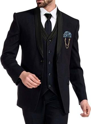 Mens Navy Blue Tuxedo Wedding 7 Pc 2 Button