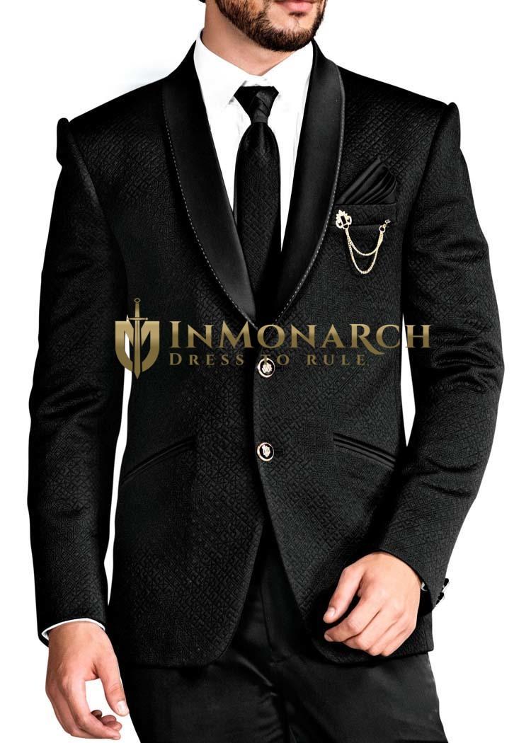 Mens Black Tuxedo Suit Two Button 6 Pc