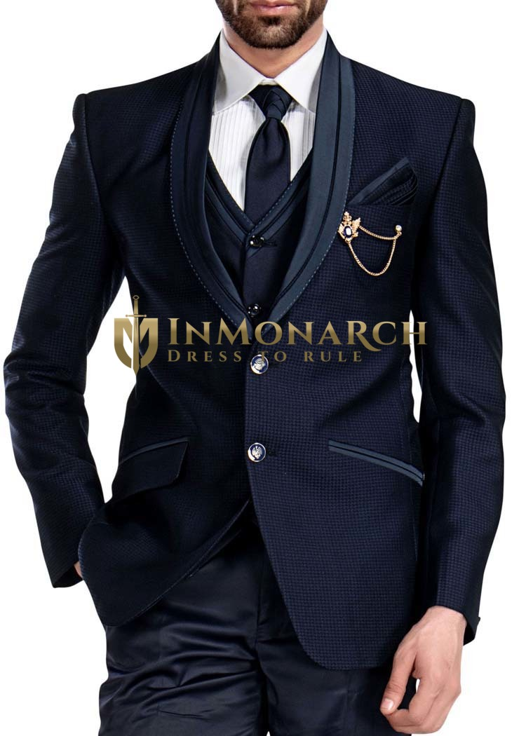 Mens Dark Navy Tuxedo Suit Small Check 2 Button