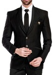 Mens Black Tuxedo Slim Fit 6 Pc Suit