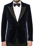 Mens Navy Blue Velvet Blazer One Button