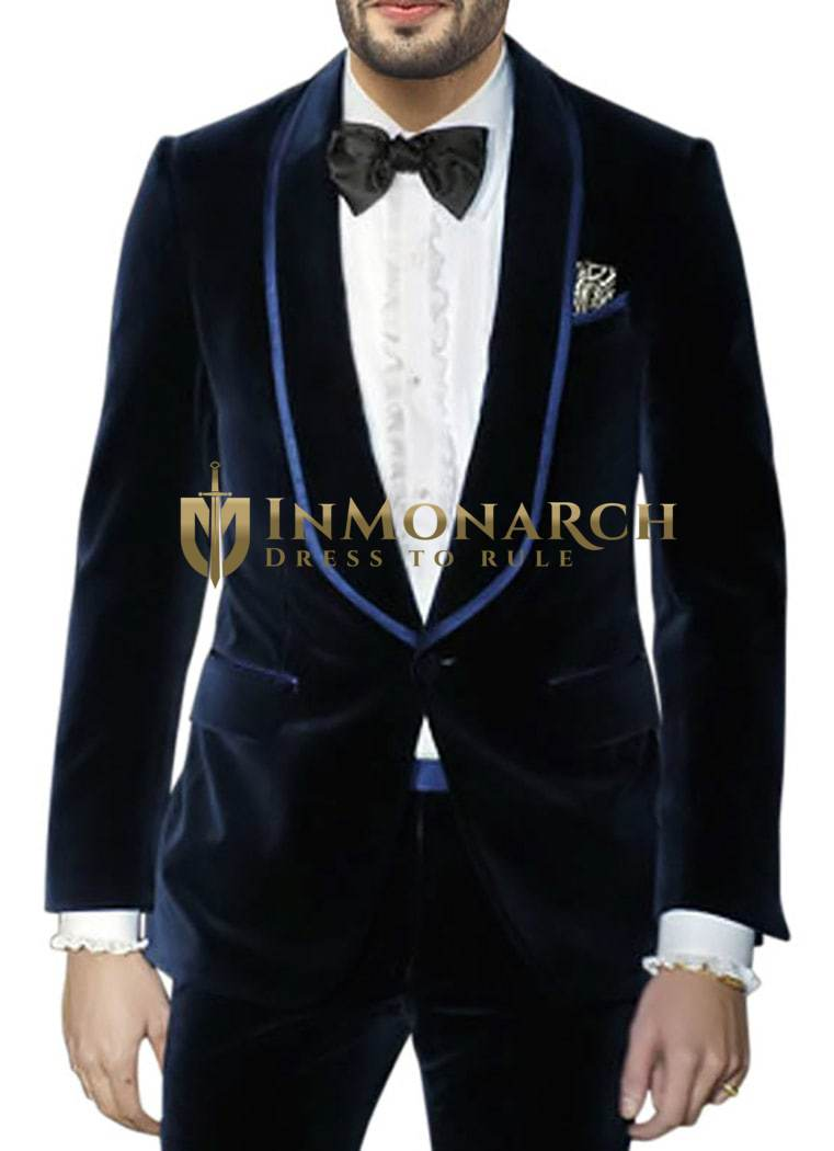 Mens Navy Blue Velvet Blazer Slim Fit