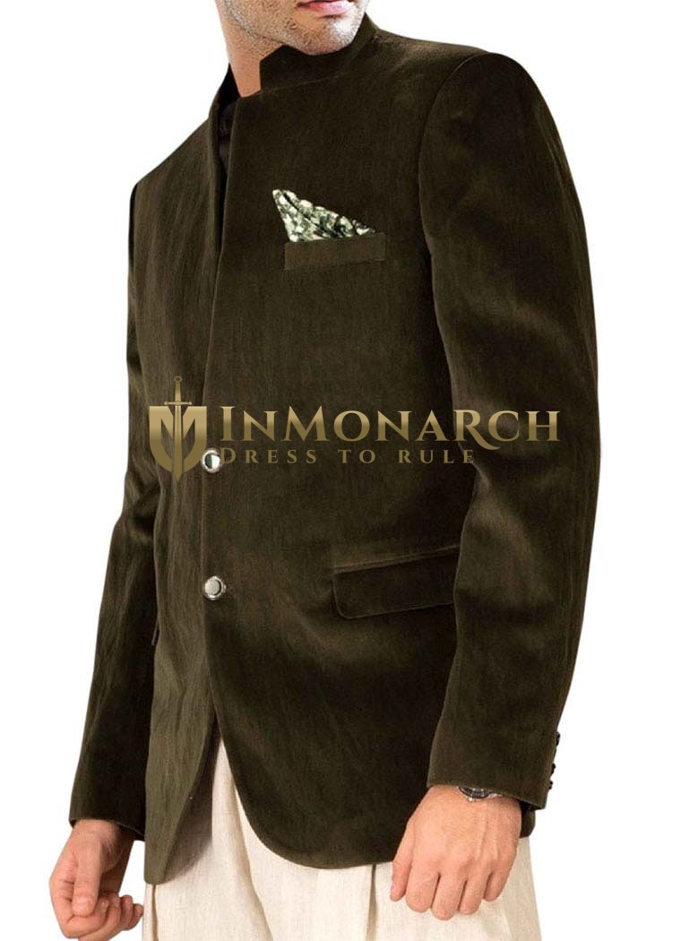 Mens Slim fit Casual Green Velvet Blazer sport jacket coat Fabulous Two Button