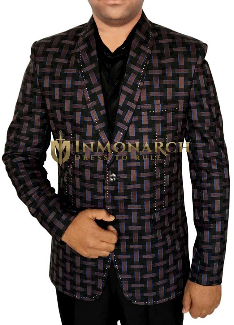 Mens Black Two Button Blazer Self Design