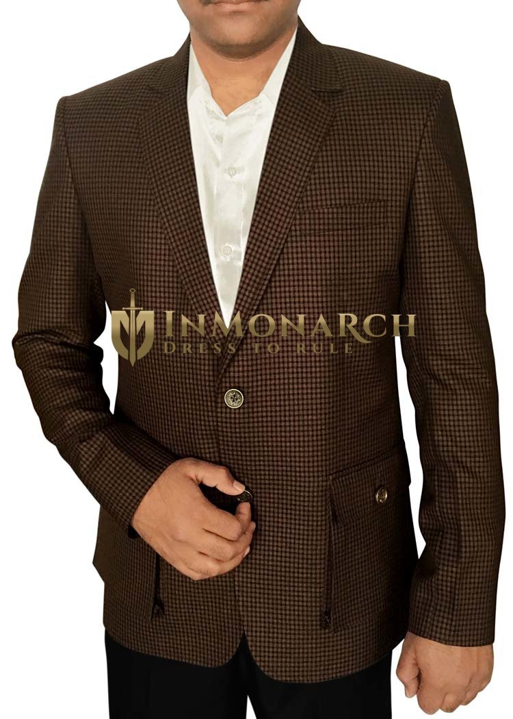 Mens Slim fit Casual Brown Blazer sport jacket coat Small Shepherd's Check