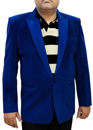 Mens Slim fit Velvet Blue Blazer sport jacket coat