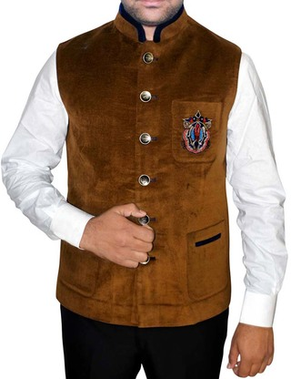 Mens Brown Nehru Vest Embroidery Work