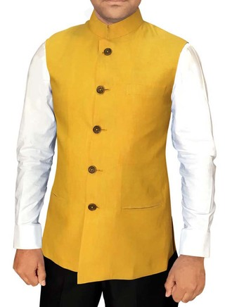 Mens Vest Yellow Modi Jacket for Men Wedding Wear