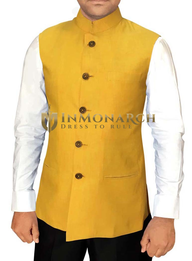 Mens Yellow Nehru Vest Wedding Wear