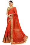 Partywear Salmon Embroidered Saree