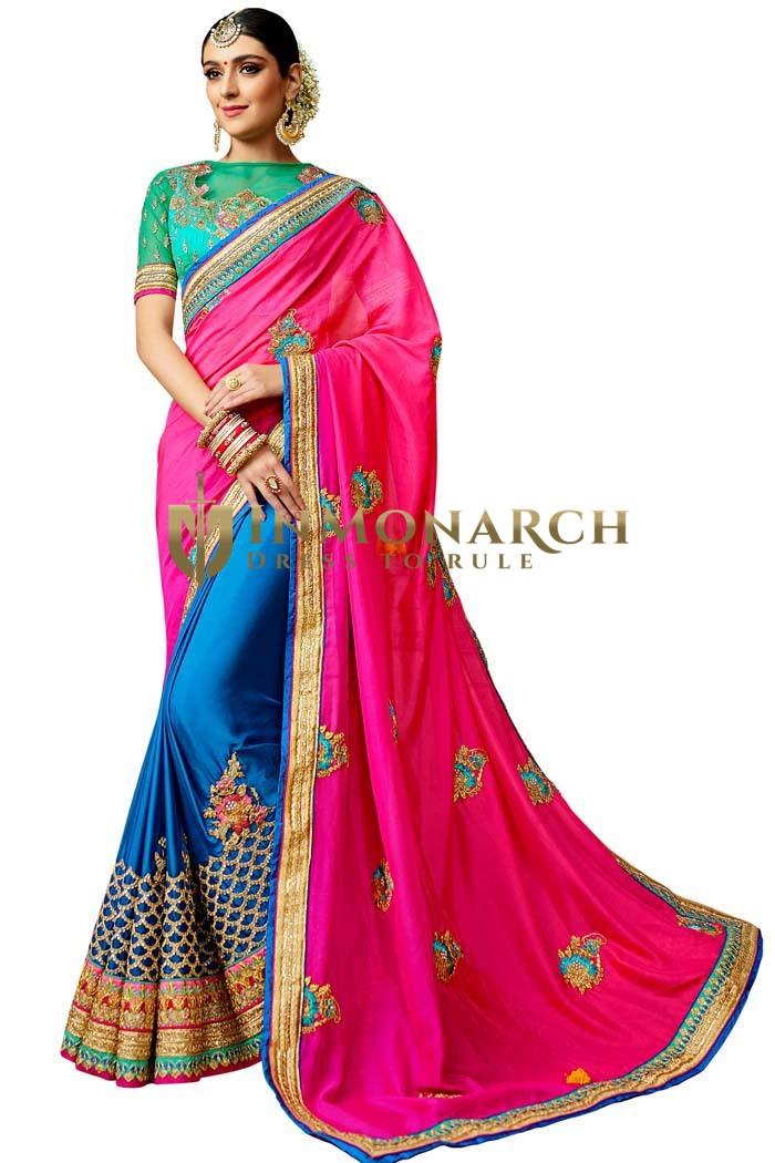 Designer Magenta & Sky Blue Silk Saree