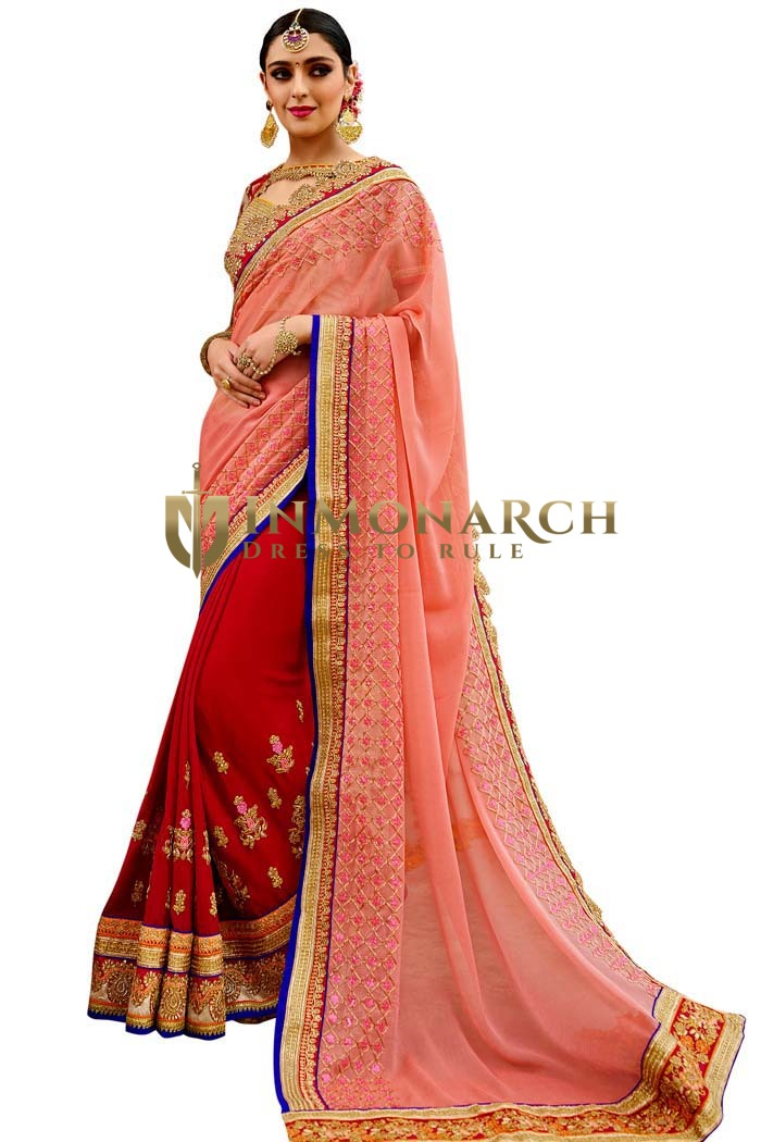 Embroidered Maroon and Peach Bridal Saree