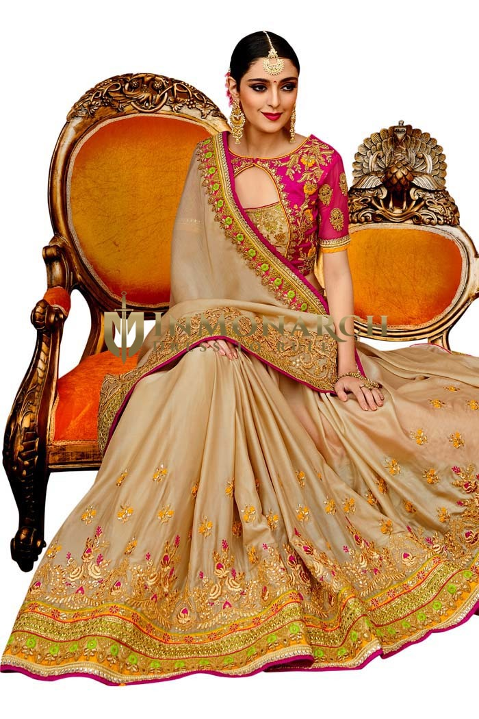 Reception Wear Beige and Magenta Silk Saree