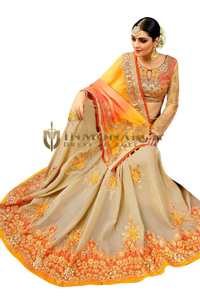 Beige Silk Wedding Bridal Saree